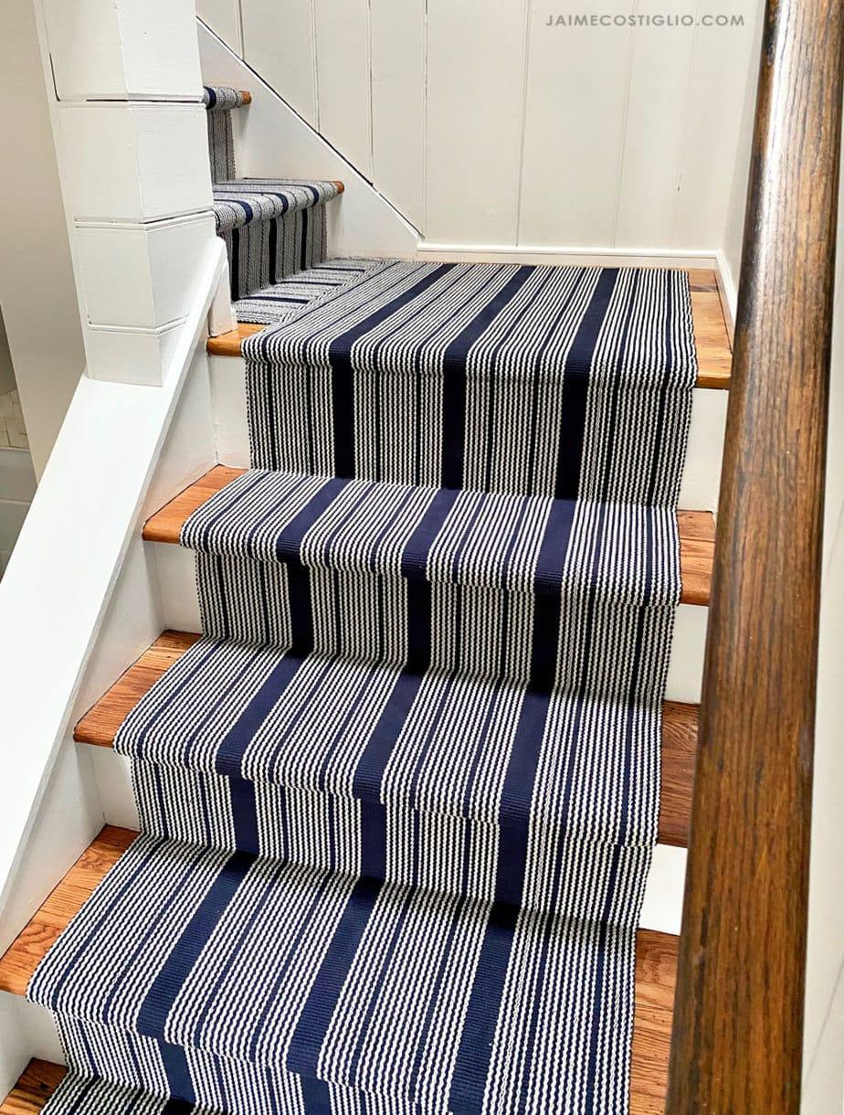 striped woven stair runner