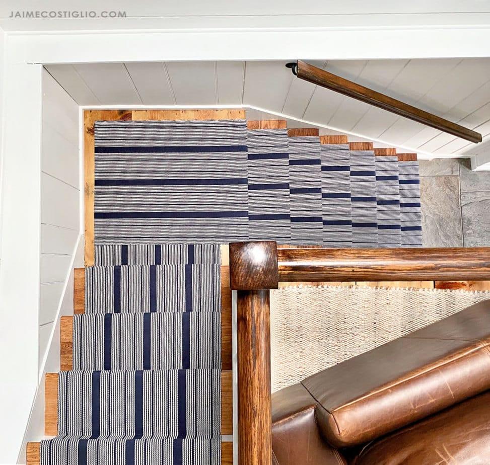 striped runner on split staircase