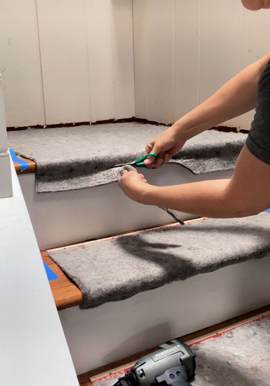 trimming excess padding under tread nose