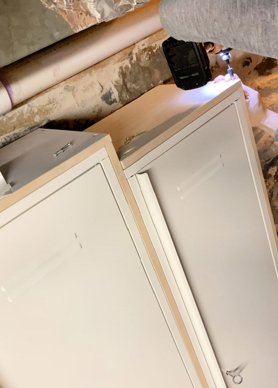 attach plywood top to vertical