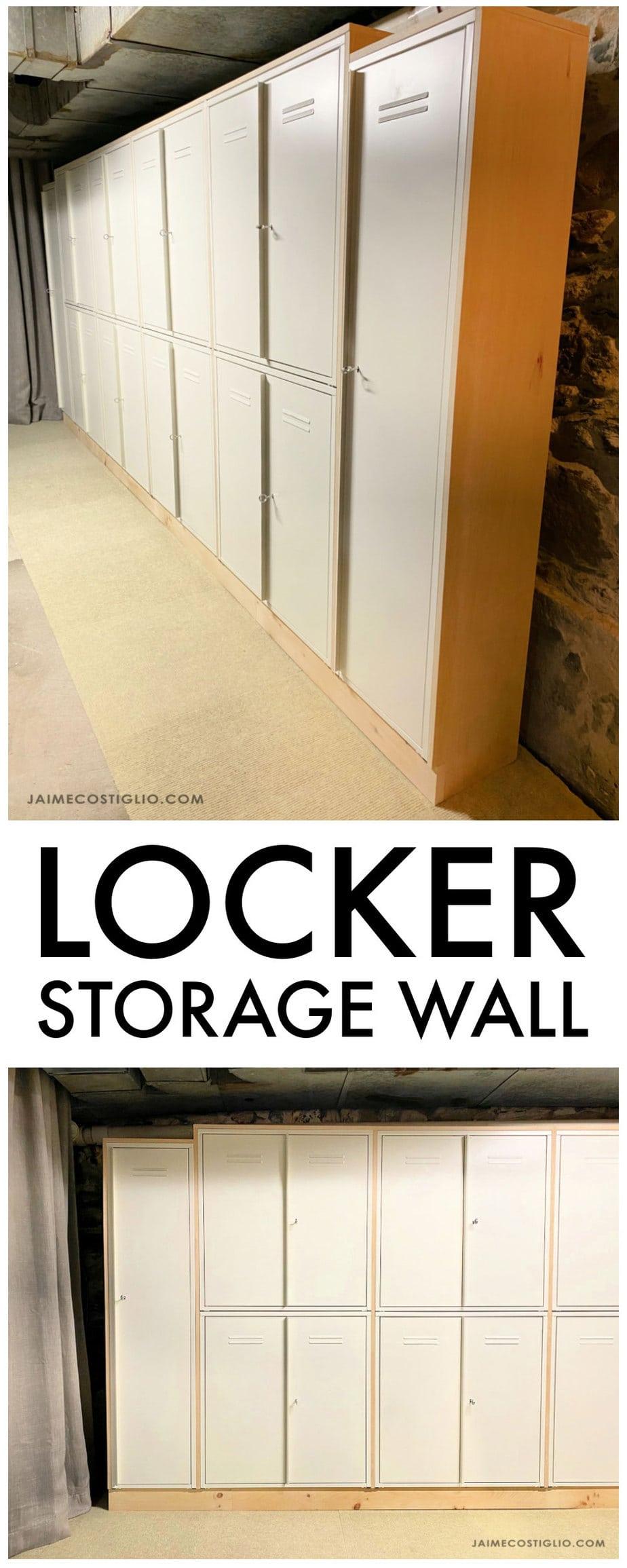 diy locker storage wall