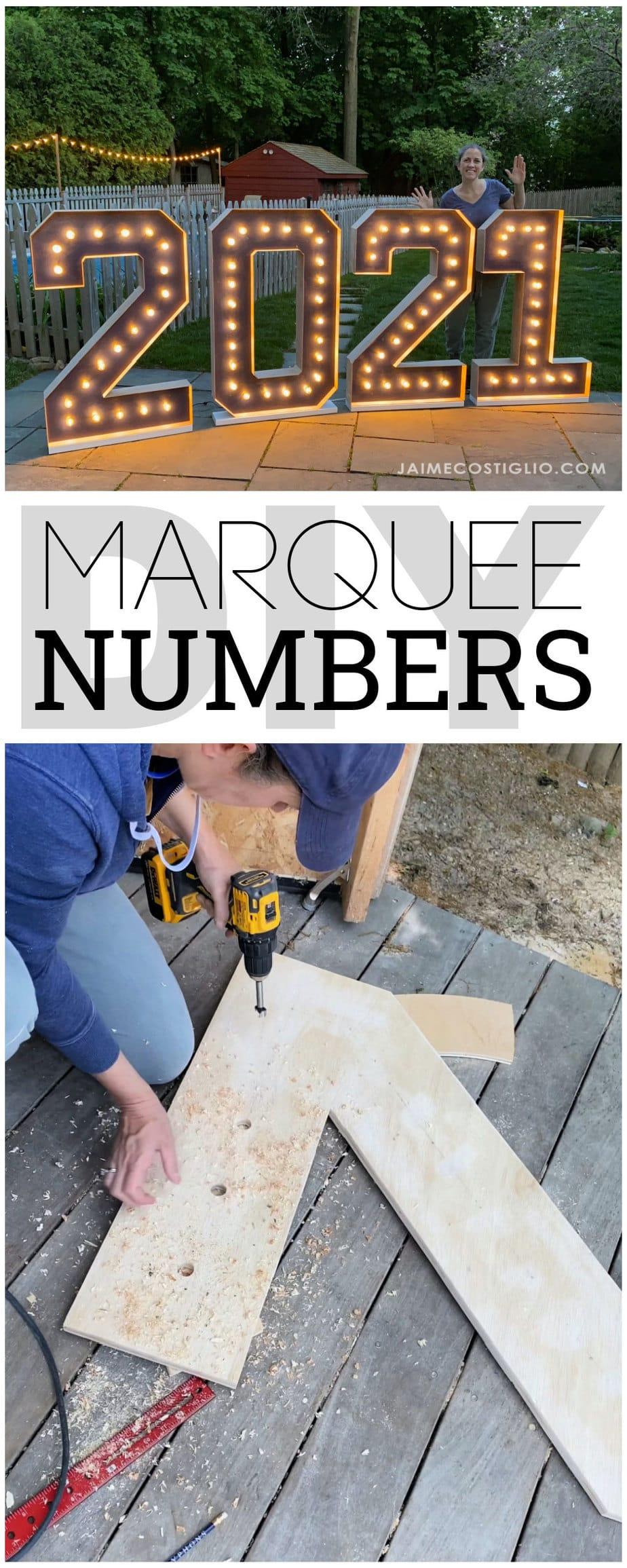 diy marquee numbers
