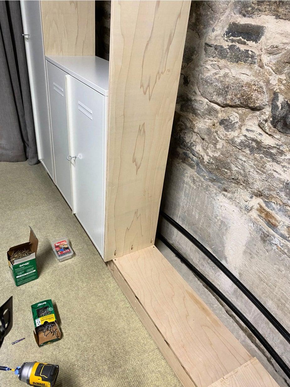 plywood base under lockers