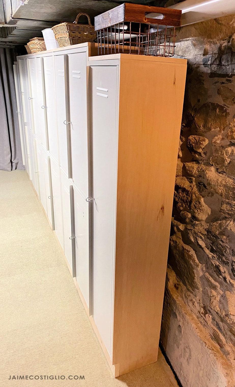 plywood framed metal lockers