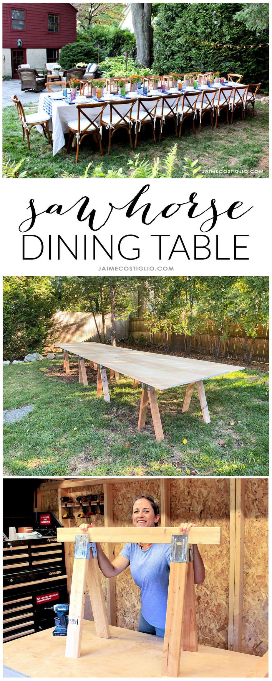 diy sawhorse base table
