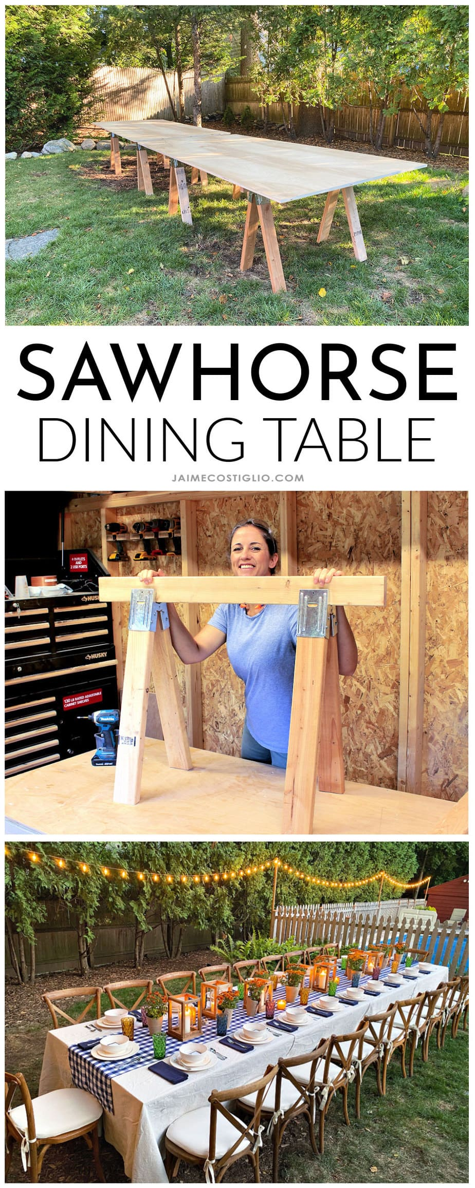 diy sawhorse dining table