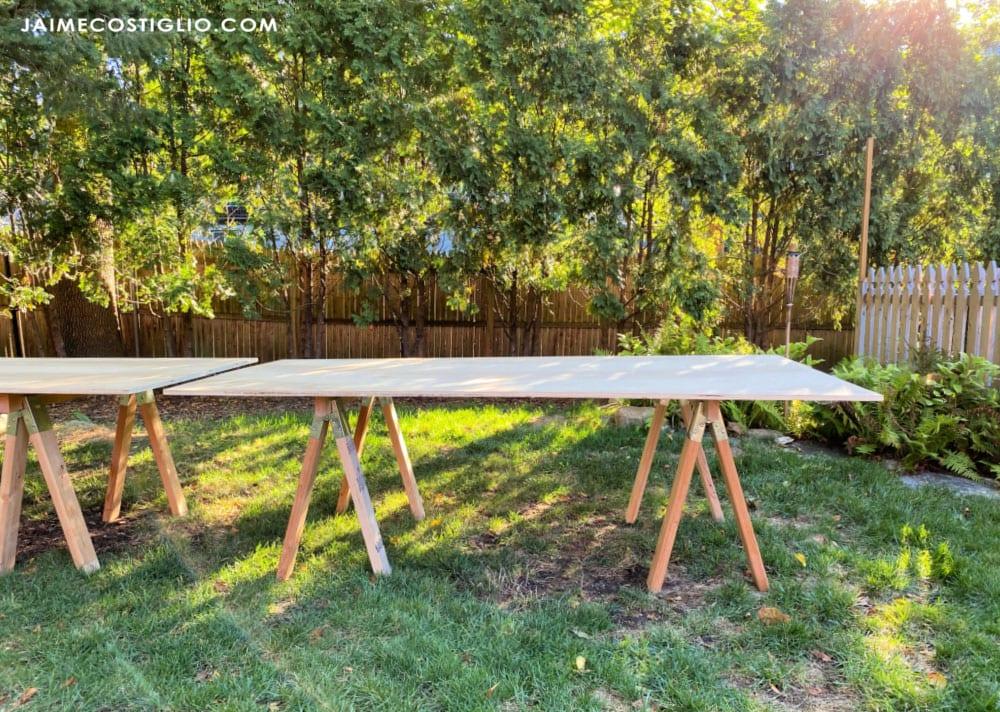 sawhorse base table outdoors