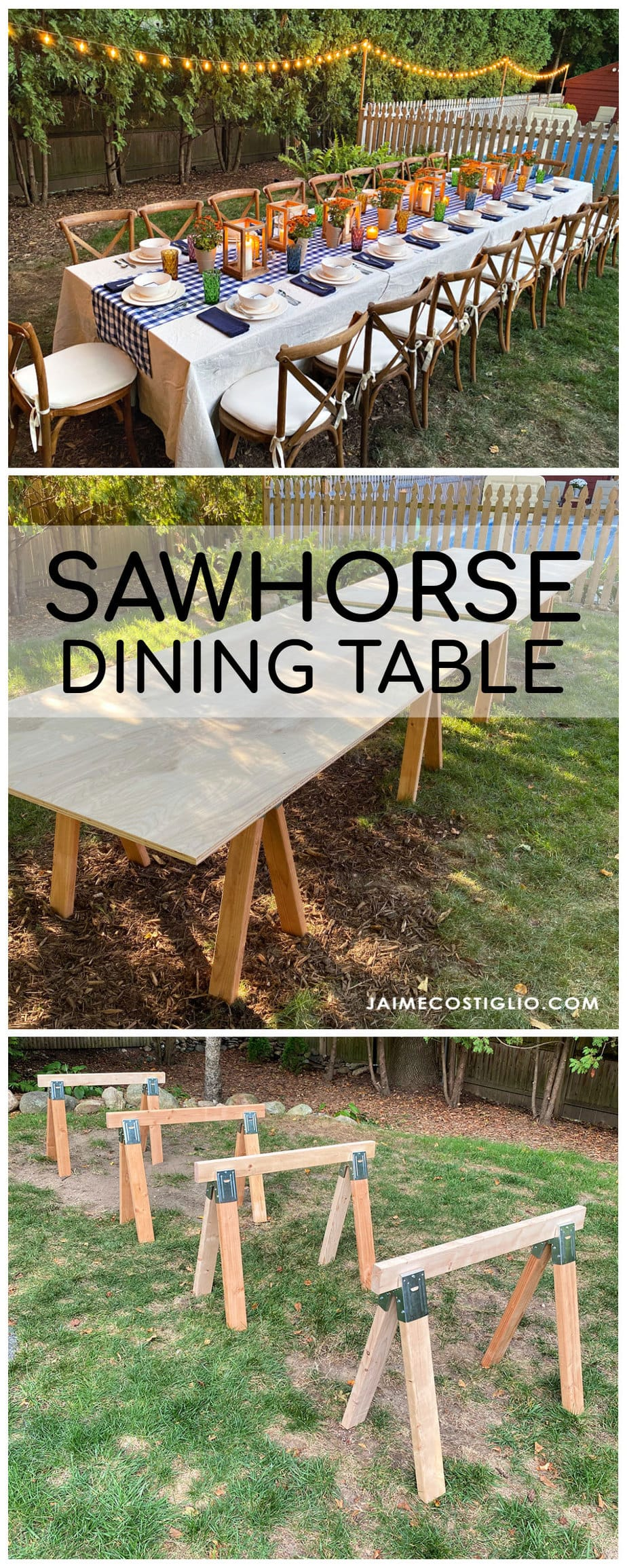 sawhorse dining table collage